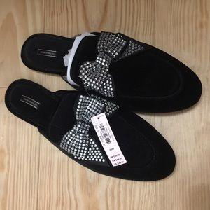 Victoria's Secret velvet rhinestone bow slippers